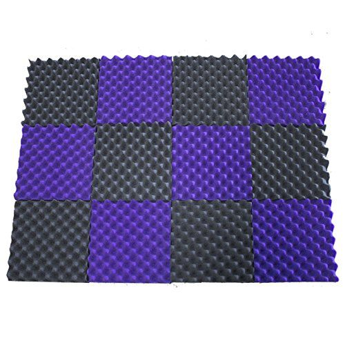 """(12 Pk) PURPLE / CHARCOAL 2.5""""x12""""x12"""" Soundproofing Foam Acoustic Eggcrate Tiles Studio Foam Sound Wedges  Foam panels HIGHEST point reaches 2.5 inch height. Its LOWEST point reaches 1/2 inch in height. / Overall Noise Reduction Coefficient (NRC): 0.68  Smaller panels offer more options for placement and design / Pack of 12. Covers 12 sq. ft. (Covers 1 sq. ft. per sheet)  Good for Recording Studios, Vocal Booths, Home Theathers  Reduces standing waves and flutter echoes in small to me..."""