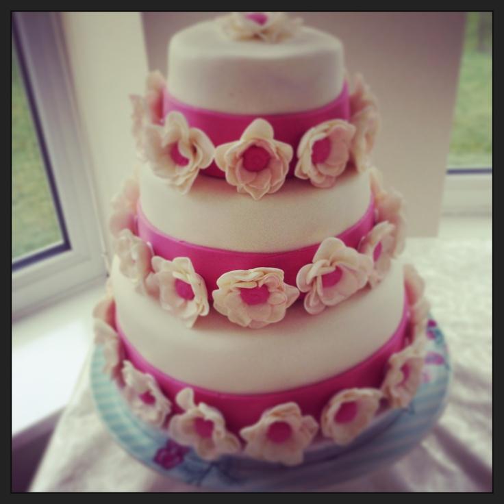 3- tier Birthday cake with flowers.