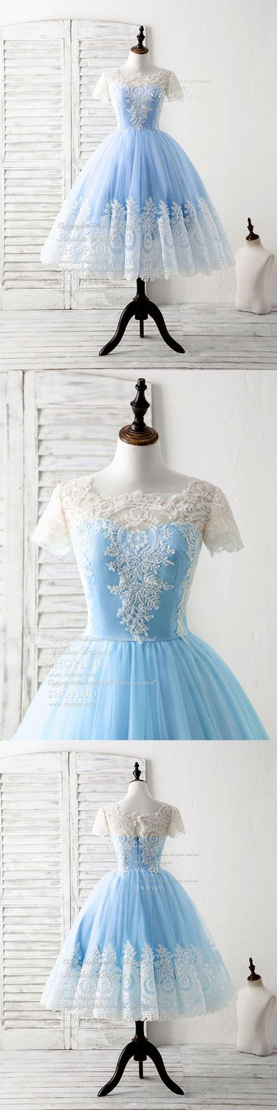 Blue tulle lace short prom dress blue bridesmaid dress, blue wedding party dress, blue sweet 16 dress