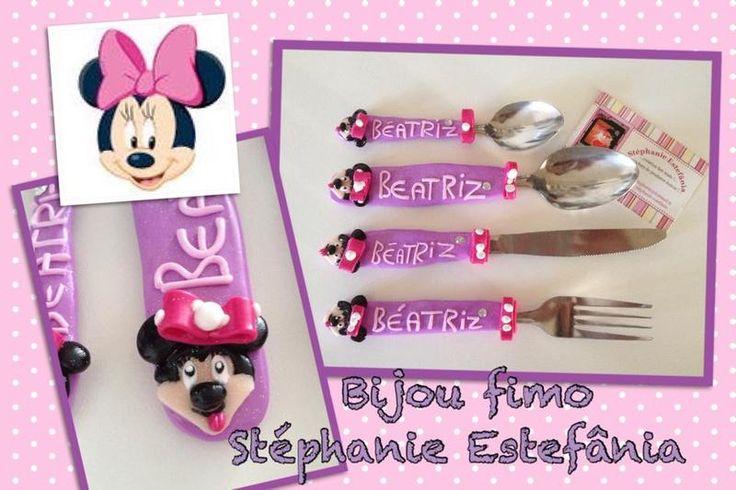 couvert enfant avec son nom minnie  de Bijou fimo Stéphanie Estefânia  sur DaWanda.com