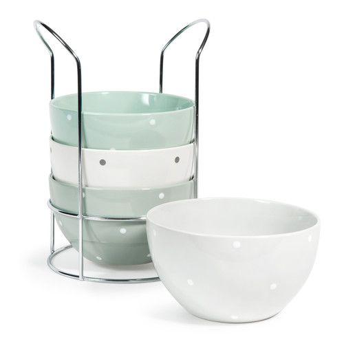 4 gepunktete Schalen NORDIQUE aus Steingut + Ständer, grün/weiß