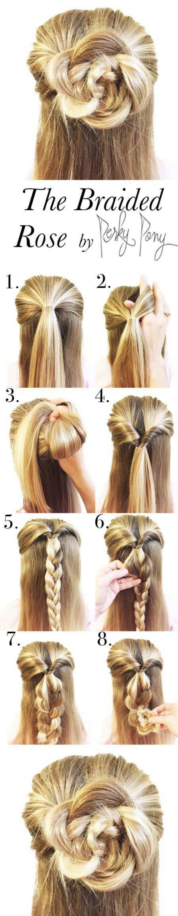 THE BRAIDED ROSE BUN BY PERKY PONY | STEP BY STEP HAIRSTYLES | HAIRSTYLE TUTORIALS | EASY HAIRSTYLES | 17 Hairstyles That Can be Done in 3 Minutes