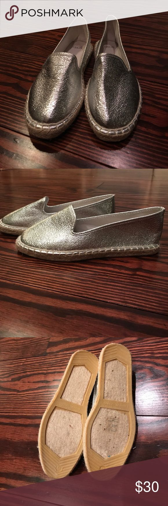 ASOS never been worn silver flat slip on Purchased in Sweden asos silver flat shoes. Size 8.5 in perfect condition never worn ASOS Shoes Flats & Loafers