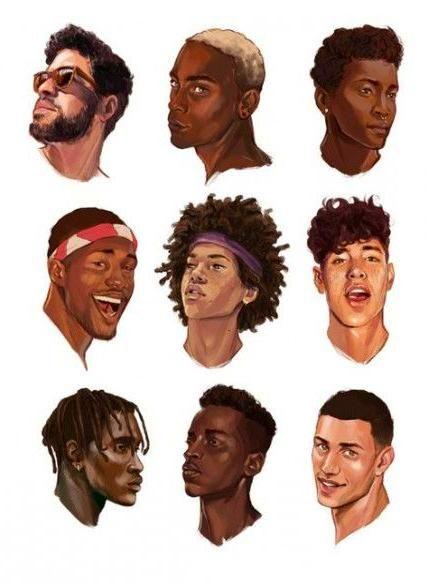 Character Design Black Boy Drawing Digital Art Male Black Women Hairstyles