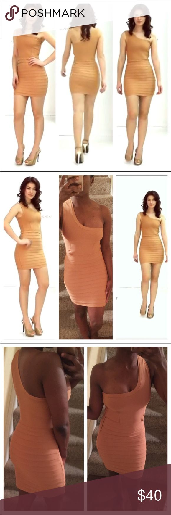 🔥 One-Shoulder Bandage Dress Caramel Brown Colored Bandage dress from WOW Couture. Purchased on Asos.com. Beautiful dress sure to turn heads. Worn out one time. Zips at the side. True to a size small, may fit up to a size 6. Measurements available upon request. Short, above the knee. Stretches. Bodycon tube dress with tiered layers at the skirt. Similar brands include house of cb, celeb boutique, tobi, fashion nova, missguided, bebe, bcbg, herve leger and express. ASOS Dresses One Shoulder