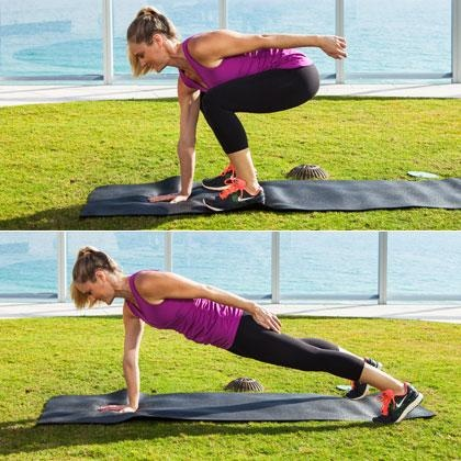 Flat Abs Exercise: Single-Arm Squat Thrust - 15 Unexpected Exercises That Work Your Abs - Shape Magazine - Page 15