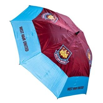 Premier League Golf West Ham 60 Inch Double Canopy Umbrella Official West Ham branding perfect for any fanHighly engineered wind resistant double canopy umbrella. Specially vented lower panels mean that this umbrella will not turn inside-out no matter the weat http://www.MightGet.com/january-2017-11/premier-league-golf-west-ham-60-inch-double-canopy-umbrella.asp
