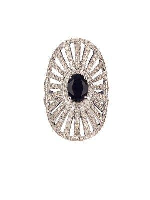 Elise Dray Diamond, onyx & white-gold Antoinette pinky ring