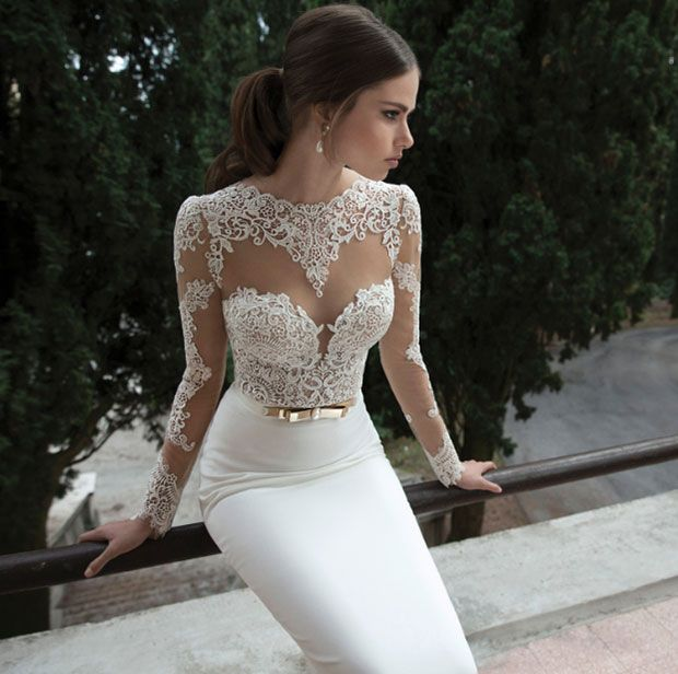 A Line Wedding Dress with Transparent Lace Top