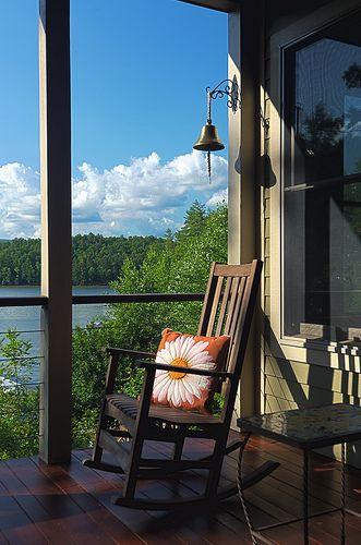 Rocking Chair Overlooking Beautiful Lake James In Western