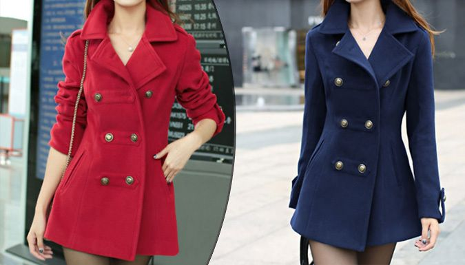 Buy: Women's Double Breasted Coat - Red or Blue, 4 Sizes for just: £18.00 Say goodbye chill, hello style with theWomen's Double Breasted Coat      This gorgeous double-breasted coat makes a winter statement      Touches on the military trend for serious fashion points      The perfect coat to dress up any outfit      Double breasted with a sultry A-line cut      Choose from red or blue    ...