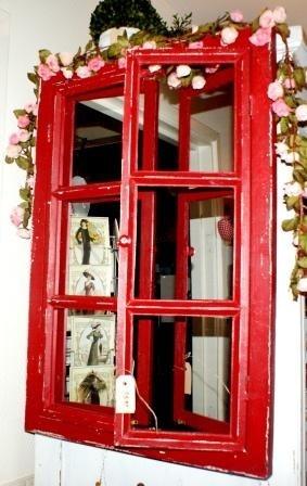 Brocant old look spiegel met luiken (ruit raamwerk)rood!