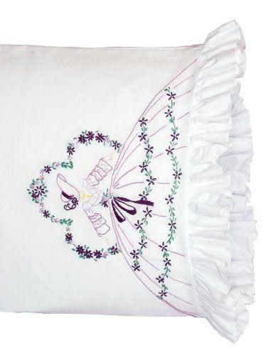 Fairway Needlecraft 82527 Vintage Ruffled Edge Pillowcases, Samba Lady Design, Standard Size, White: Stamped Lace, Needlecraft 82527, Lace Edge, Fairway Needlecraft, Edge Pillowcases, Lady Design, 82527 Vintage