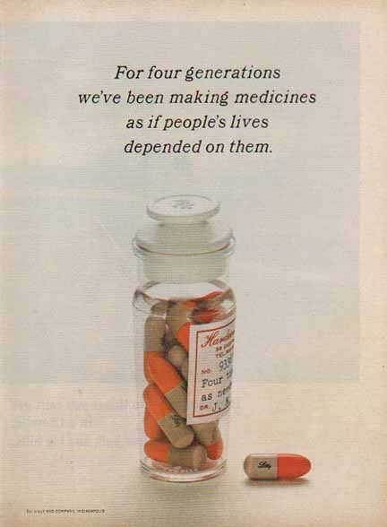 Eli Lilly Pharmaceutical 1966 Ad - Four Generations