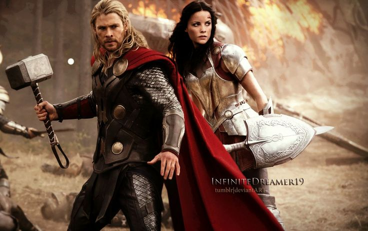 Thor and Sif | Thor and Sif ::.. by InfiniteDreamer19. I really don't care what all the Jane and Thor fans out there have to say...Sif is awesome, and I love her and Thor together. I won't have a whole lot of faith in his brain capacity until he wakes up and realizes how amazing his friend is. |Marvel||Thor the Dark World||Chris Hemsworth||Jaimie Alexander|