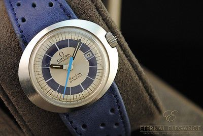 Vintage Omega Geneve Dynamic, Automatic, 1970's, Stainless Steel, Blue Strap