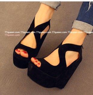 2013 summer fashion women wedges open toe high-heeled sandals cutout cross platform shoes TCH-1047 $31.99