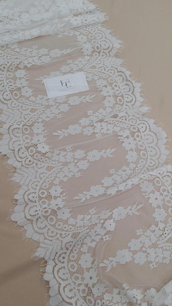 Ivory Lace Trim French Lace Chantilly Lace Bridal Gown