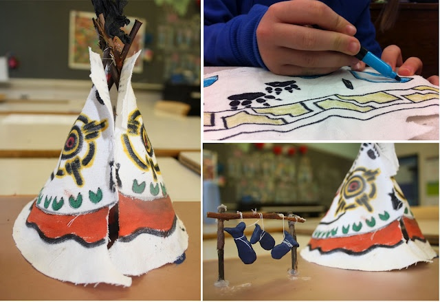Grade 6 art - First Nation's Tipis (Teepees?) using canvas, twigs, paint, etc.