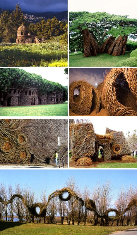 Architectural spaces from living trees by Patrick Dougherty. So earthy and magical :)