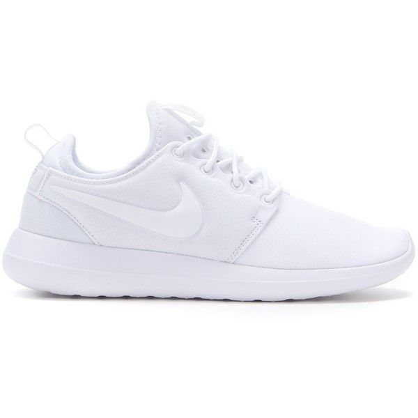 Nike 'Roshe 2' sneakers ($102) ❤ liked on Polyvore featuring shoes, sneakers, nike, white, round toe shoes, nike shoes, round cap, lace up sneakers and laced sneakers