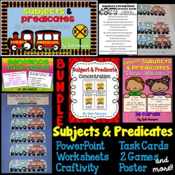 "Is the topic ""Subjects and Predicates"" a new or particularly challenging topic for your students?  If so, you might want to check out this lesson bundle.  It includes a train theme that will provide your students with a visual reference when considering complete subjects and complete predicates within sentences.This bundle includes many activities that will scaffold your students starting with an introduction and then progressing through guided practice to partner practice to independent…"