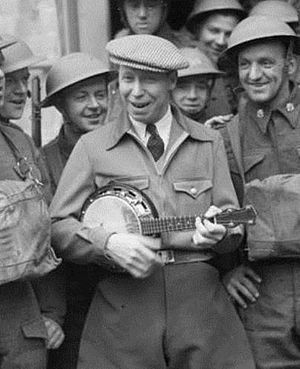 George Formby entertains British troops in WW2