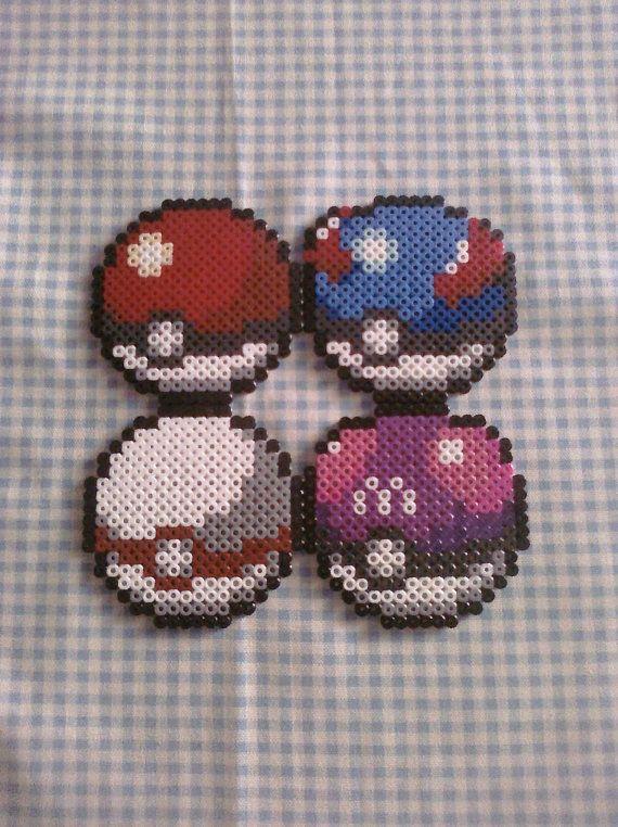 Various Pokeball Perler Bead Coasters via Etsy