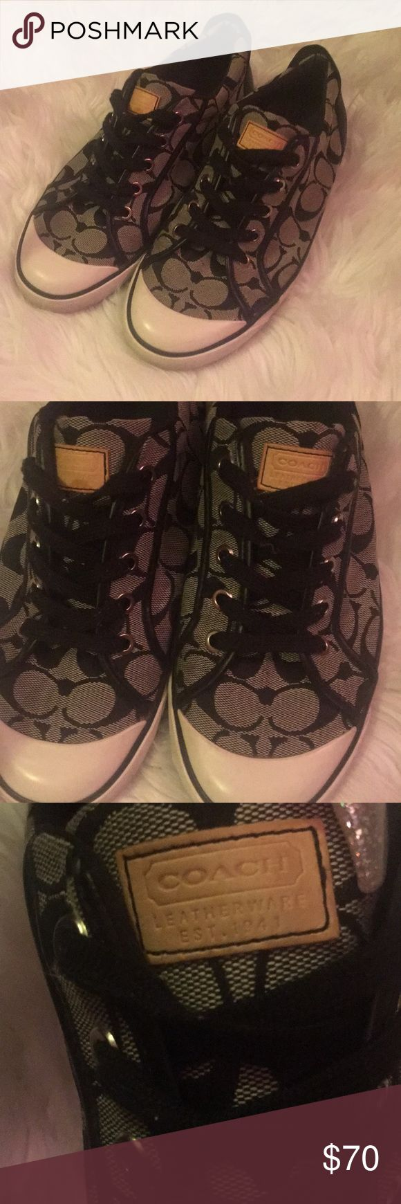 Coach tennis shoes Black Coach Shoes. slightly worn, but not damaged at all, still in good condition, like new, soles of shoes are clean. Shoe material is completely. Clean. Coach Shoes
