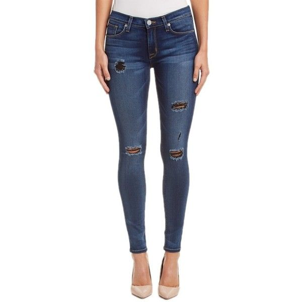 Hudson Jeans Hudson Jeans Nico Super Skinny Apls Ankle Cut (404696601) ($105) ❤ liked on Polyvore featuring jeans, apls, super skinny jeans, blue ripped jeans, destroyed skinny jeans, ripped skinny jeans and distressed jeans