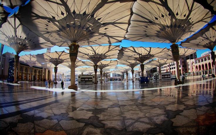 Umbrellas over plaza, Medina, Saudi Arabia