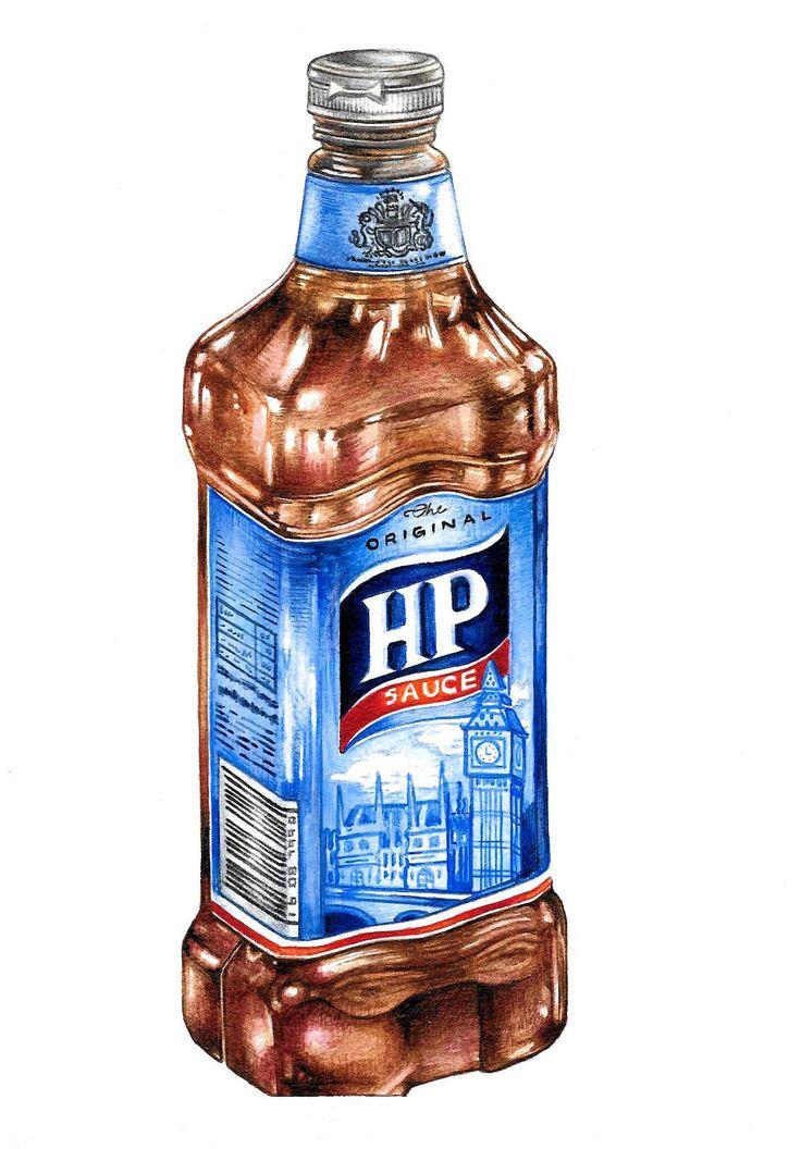 """HP Sauce"" (2014)  watercolour on paper (15x21cm) by Tiina Lilja"