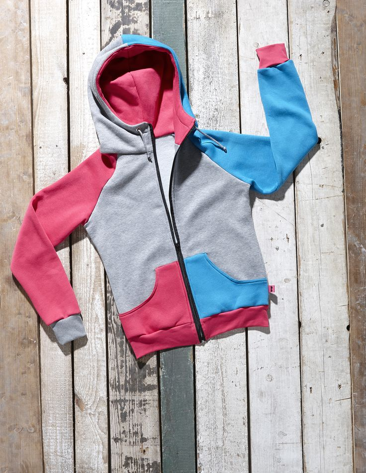 Blue, grey and magenta Veneto zip hoodie by Bosis