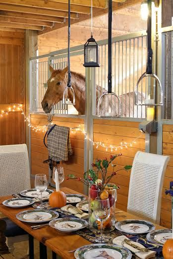 Have dinner with your horse and use stirrups as tealight candle holders. Sweet! A Moveable Feast – An Equestrian Thanksgiving | Equestrian Stylist
