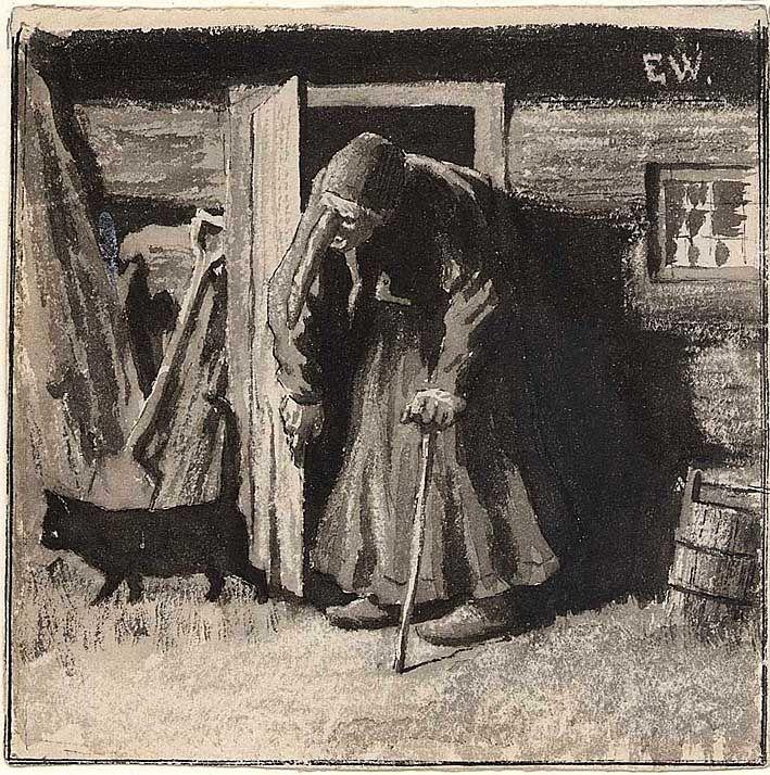 """Erik Werenskiold, """"Rettnå kommer månen, så skal jeg spørre ham -"""". 1883 eller 1884"""
