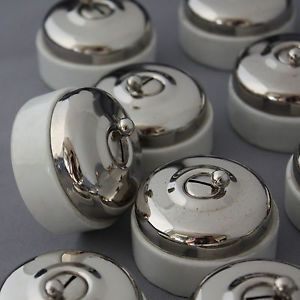 Vintage Chrome & Ceramic Light Switches