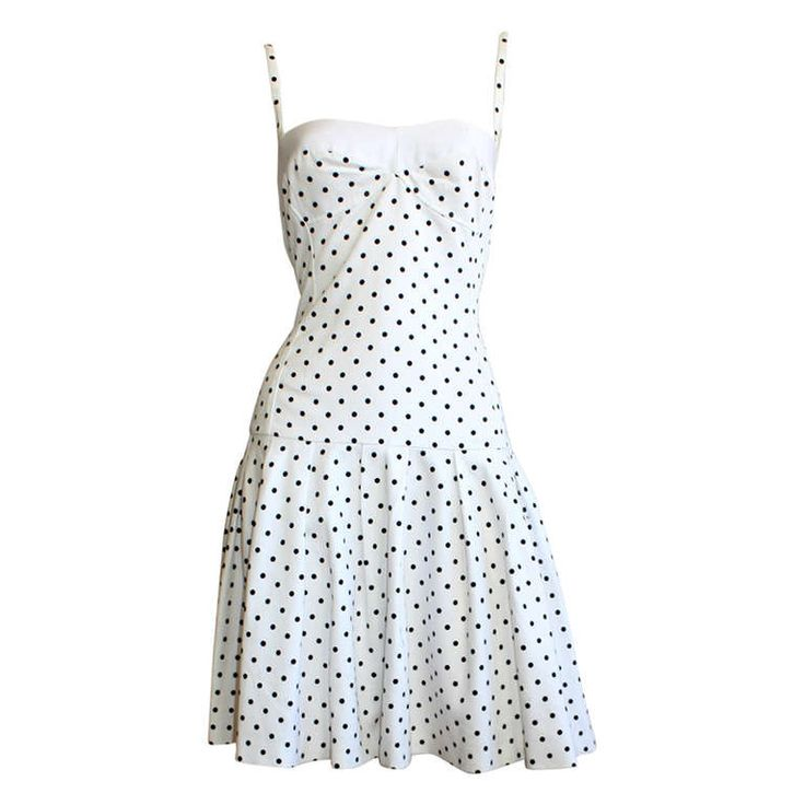 Vintage Enrico Coveri white and black POLKA DOT 1990s dress just posted in my 1stDibs.com store, brent edward.