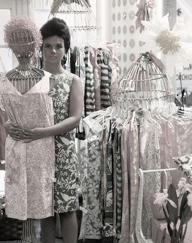 """Jackie wore one of my dresses""- it was made from kitchen curtain material - and people went crazy. They took off like zingo. Everybody loved them, and I went into the dress business."" - Essentially Lilly"