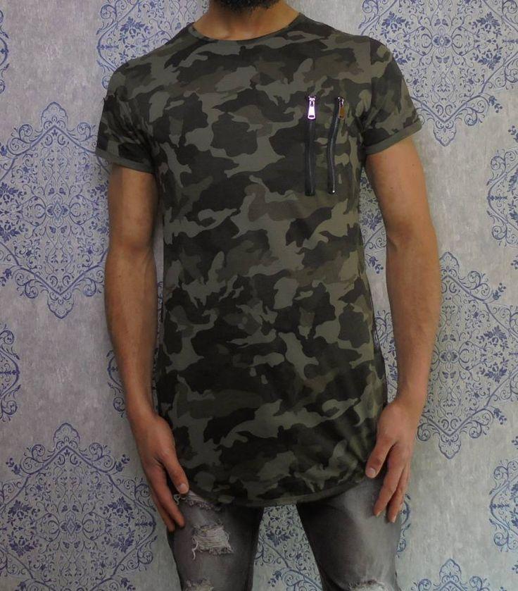Green camouflage long t-shirt €29,99 #mens #fashion #street #urban #dope #clothing #camo
