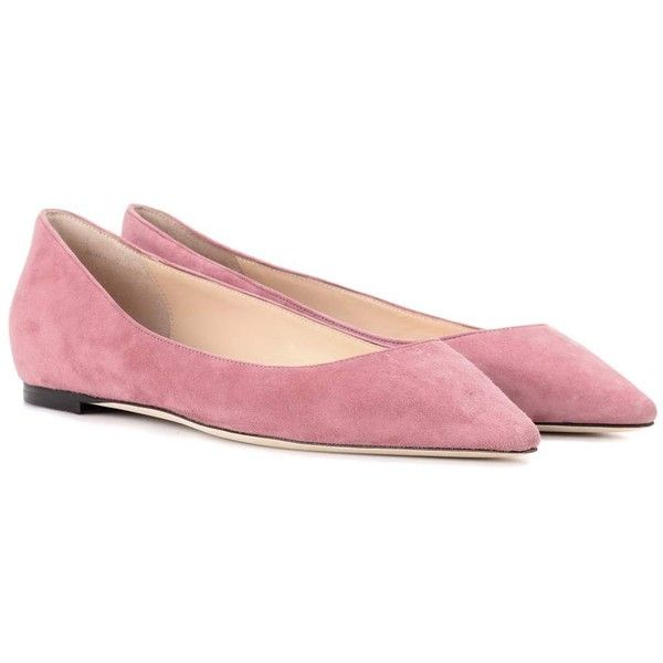 Jimmy Choo Romy Flat Suede Ballerinas ($630) ❤ liked on Polyvore featuring shoes, flats, pink, ballet shoes, pink shoes, suede ballet flats, ballet flat shoes and pink ballerina flats