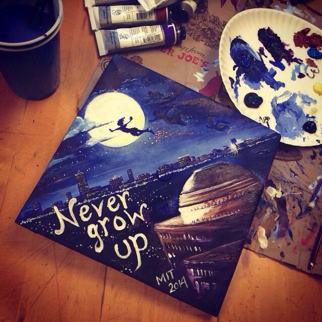 I'm totally getting my sister who's an artist to do this to my graduation cap next year ✨ #peterpan #nevergrowup #graduationcap