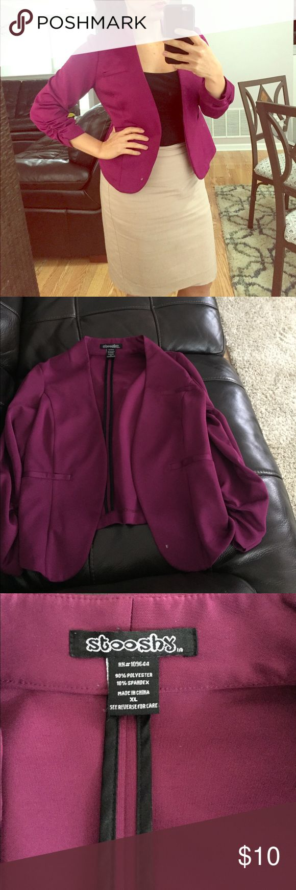 Purple blazer Runs small. XL Blazer. Beautiful vibrant purple perfect for business attire and paired with some nice skinny jeans Stooshy Sweaters Cardigans