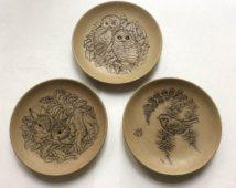 Poole aardewerk steengoed dierlijke platen uil plaat, platen van de vogel, konijn plaat, jaren 1980 steengoed, uil cadeau