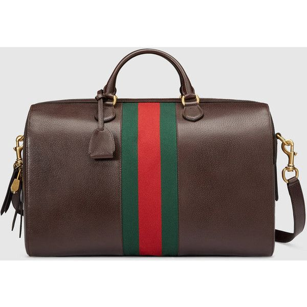 Gucci Leather Duffle ($2,505) ❤ liked on Polyvore featuring men's fashion, men's bags, bags, brown, men, suitcases & duffle bags, mens leather duffle bag, mens duffle bags, mens leather duffel bag and men's duffel bags