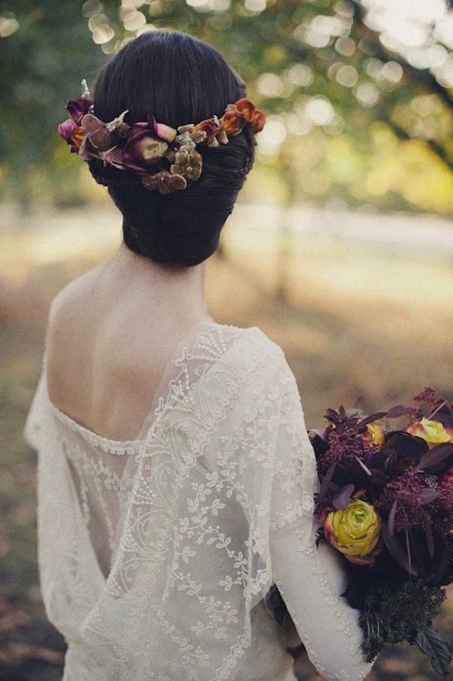 The Loveliest Wedding Hairstyles with Floral Crowns - MODwedding