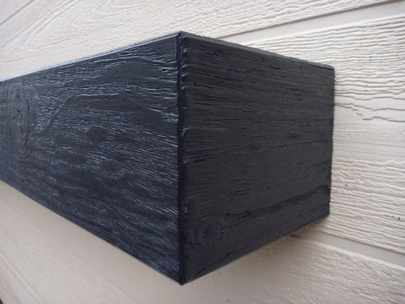 Black Fireplace mantel. Rugged Wood Mantel.  by WPBCustomWoodwork
