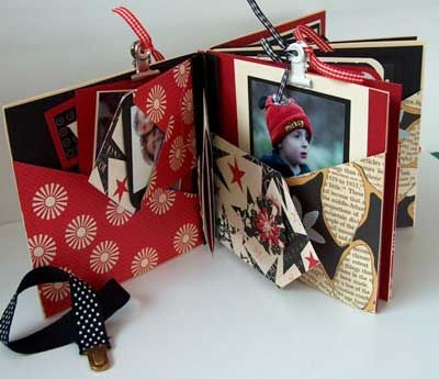 #papercraft #scrapbook #minialbum.   7Gypsies cd mailers for the main book and a 7Gypsies clasp - so cute!