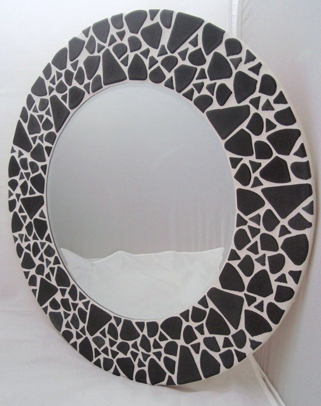 'Turtle Grey' Hand Made Round Mosaic Wall Mirror - Folksy