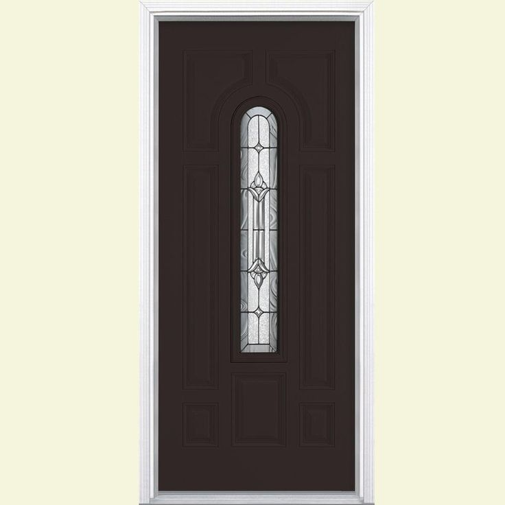 Masonite 36 in. x 80 in. Providence Center Arch Painted Smooth Fiberglass Prehung Front Door with Brickmold