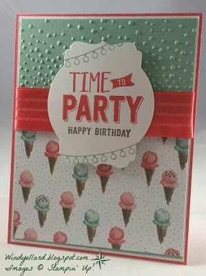 Windy's Wonderful Creations: Time To Party!, Stampin' Up!, Confetti Celebration, Birthday Bouquet DSP, Softly Falling emboss folder